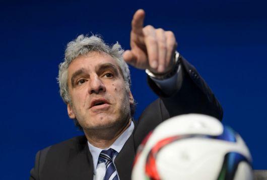 Fifa's director of communications Walter 'Big Balls' de Gregorio speaking in Zurich on Wednesday